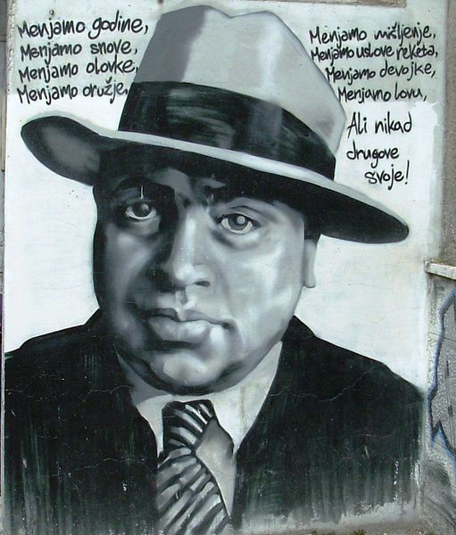 Graffiti of Al Capone made by Partizan fans in Belgrade, Serbia